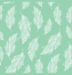 Seamless pattern with tribal feather vector