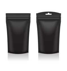 Set of blank black foil food or cosmetic doy pack vector
