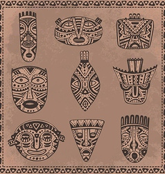 Set of hand drawn fancy masks in african style vector