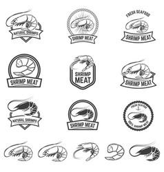 set of shrimp meat emblems fresh seafood design vector image vector image