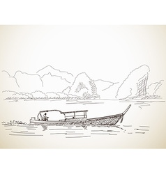Sketch of Long tail boat vector image vector image