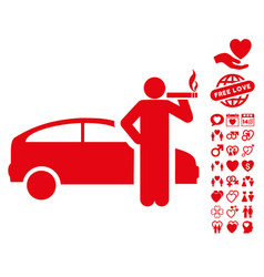 Smoking taxi driver icon with dating bonus vector