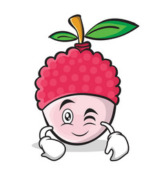 Wink face lychee cartoon character style vector
