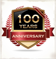 100 years anniversary golden label vector