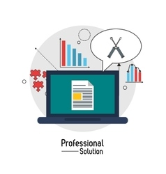 Laptop and screwdriver icon proffesional solution vector