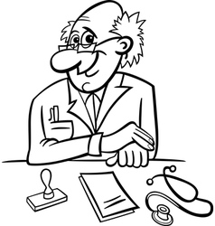 Doctor in clinic black and white cartoon vector