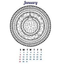 2017 january calendar planner design mandala vector