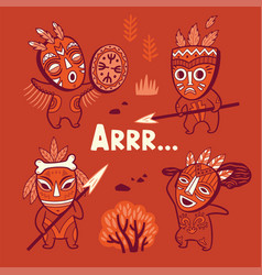 Set of stone age tribe people in masks vector