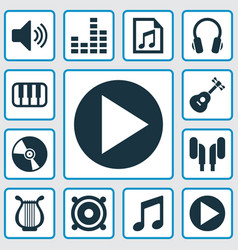 Audio icons set collection of music earmuff vector