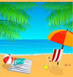 beach view with an umbrella palm leaves and vector image