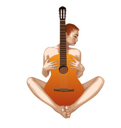 Naked girl with guitar vector