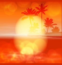 Sea sunset with palm tree and light on lens vector