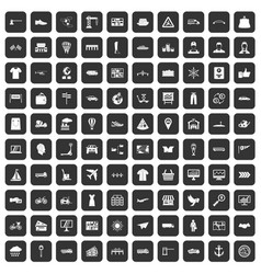 100 logistic and delivery icons set black vector image