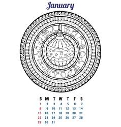 2017 january calendar planner design mandala vector