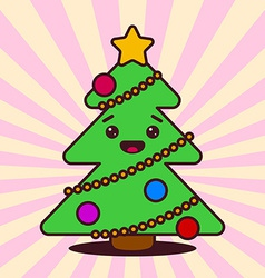 Kawaii christmas tree with smiling face vector