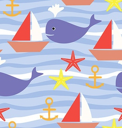 Seamless pattern with sea life boat sea star whale vector