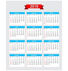 2019 calendar week start sunday vector