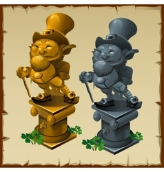 Mens statues made of gold and bronze vector