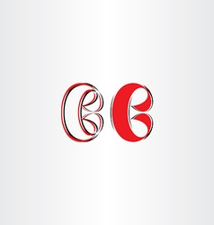 Stylized b letter logo red b icon vector