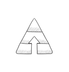 Pyramid with arrow up sketch icon vector image