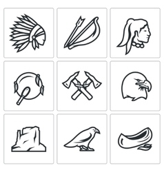Set of apaches icons injun bow and arrow vector