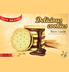 advertising banner for chocolate sandwich cookies vector image vector image
