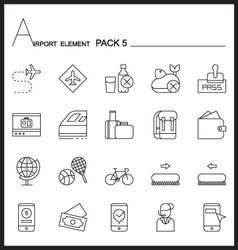 Airport element line icon set 5mono pack vector