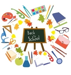 Back to School supplies set vector image vector image