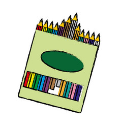 Box of crayons icon vector