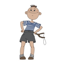 Boy with a slingshot vector image vector image