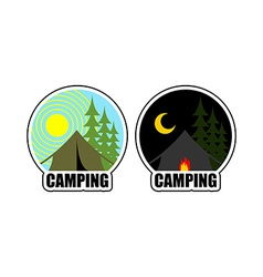 Camping logo day and night landscape with tent and vector