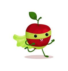 Cartoon character of funny superhero apple with vector