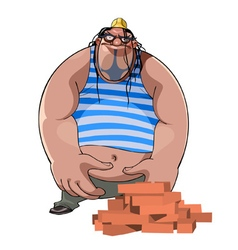 Cartoon fat burly builder in a helmet with bricks vector