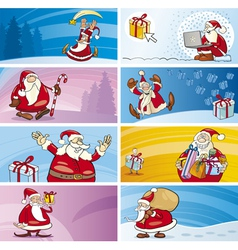 Cartoon greeting cards with santa clauses vector