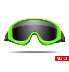 Classic green snowboard ski goggles with black vector
