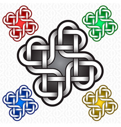 cruciform logo template with hearts in celtic vector image