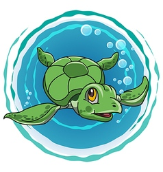 cute green turtle vector image vector image