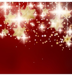 Festive red Christmas background with golden stars vector image