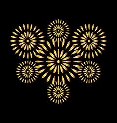 Fireworks gold on black background vector