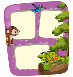 Frame template with many animals vector