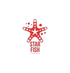 Graphic silhouette starfish logo template summer vector