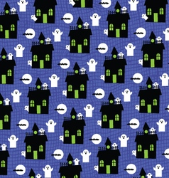 Halloween ghosts and haunted houses pattern vector