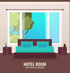 hotel room view from the window travelling nad vector image