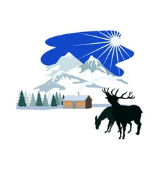 House snow mountains deer silhouette vector