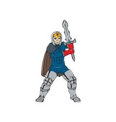 Knight Wielding Sword Front Cartoon vector image