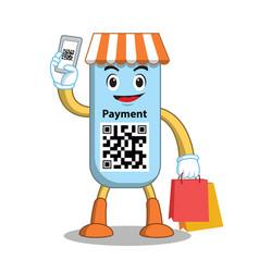 mascot qr code payment vector image vector image