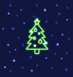 neon christmas tree icon in line style vector image vector image
