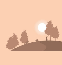 on the hill bunny landscape silhouettes vector image
