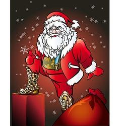 Santa wearing snakeskin boots vector