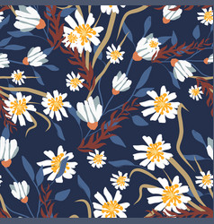 Seamless pattern with small flowers on a dark vector